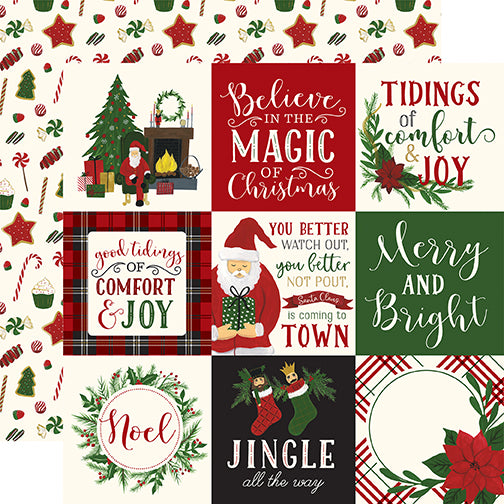 Echo Park Cut-Outs - Here Comes Santa Claus - 4x4 Journaling Cards