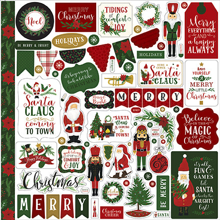 Echo Park 12x12 Cardstock Stickers - Here Comes Santa Claus - Elements