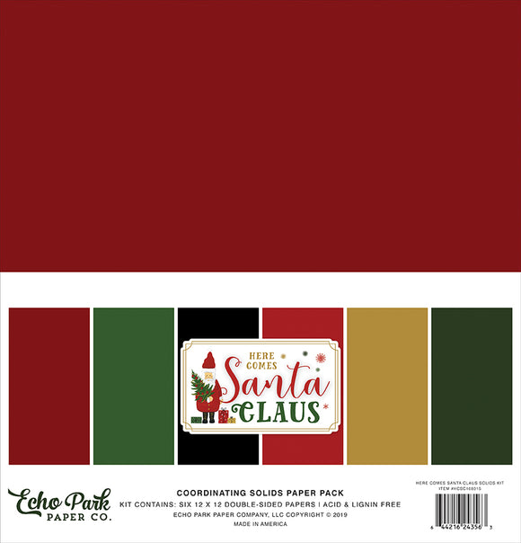 Echo Park Solids Paper Pack - Here Comes Santa Claus - Solid Paper Pack