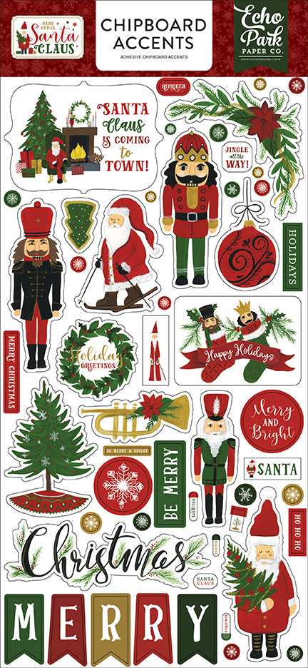 Echo Park Chipboard - Here Comes Santa Claus - Accents