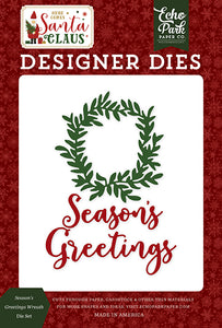 Echo Park Designer Dies - Here Comes Santa Claus - Season's Greetings Wreath Die Set