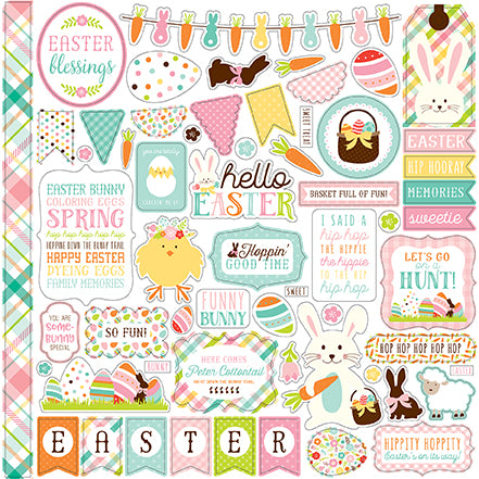 Echo Park 12x12 Cardstock Stickers - Hello Easter - Elements
