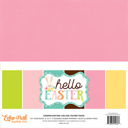 Echo Park Solids Paper Pack - Hello Easter - Paper Pack