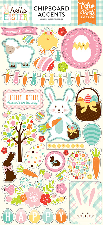 Echo Park Chipboard - Hello Easter - Accents