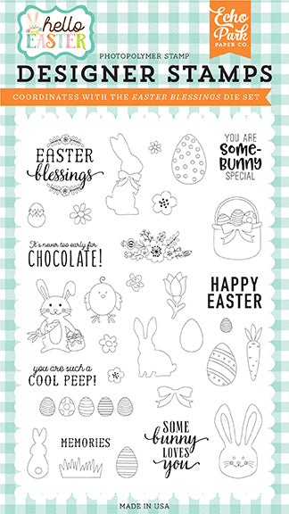 Echo Park Clear Stamp Set - Hello Easter - Easter Blessings