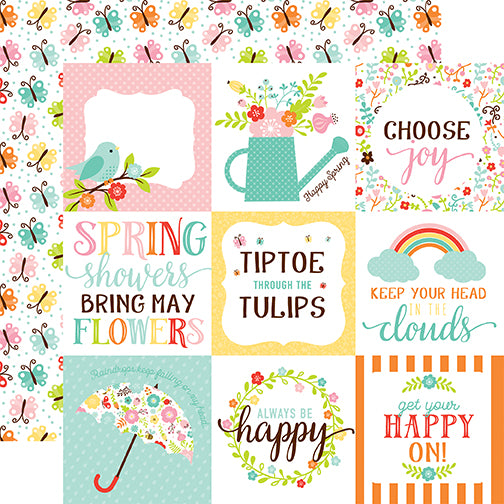 Echo Park Cut-Outs - Hello Spring - 4x4 Journaling Cards