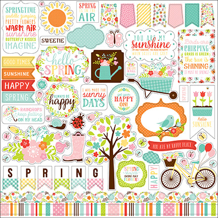 Echo Park 12x12 Cardstock Stickers - Hello Spring - Elements