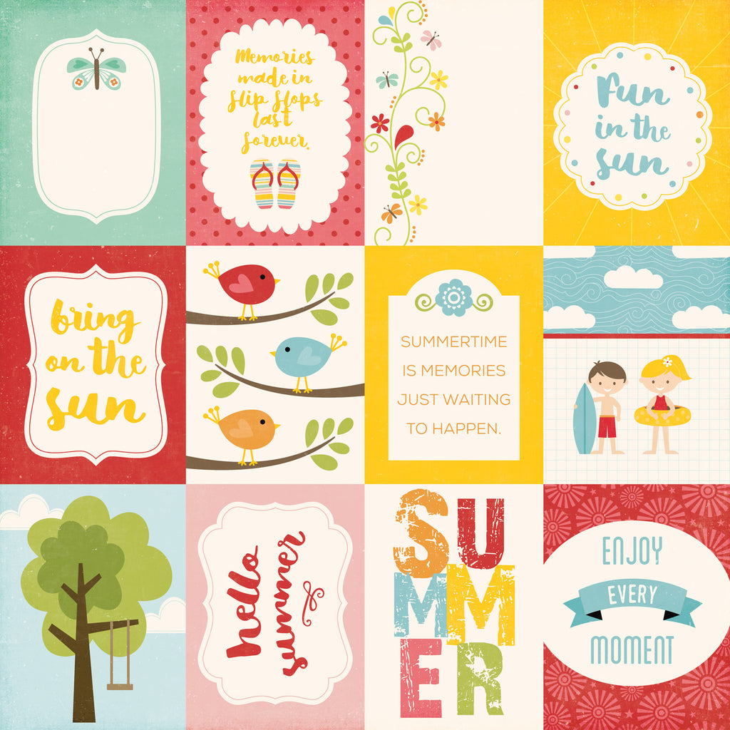 Echo Park Cut-Outs - Happy Summer - 3x4 Journaling Cards