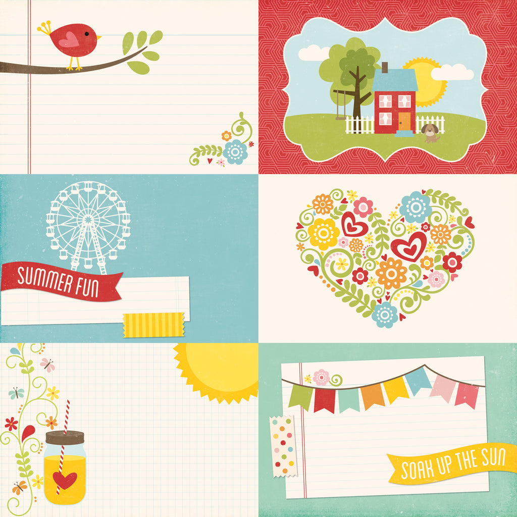Echo Park Cut-Outs - Happy Summer - 4x6 Journaling Cards