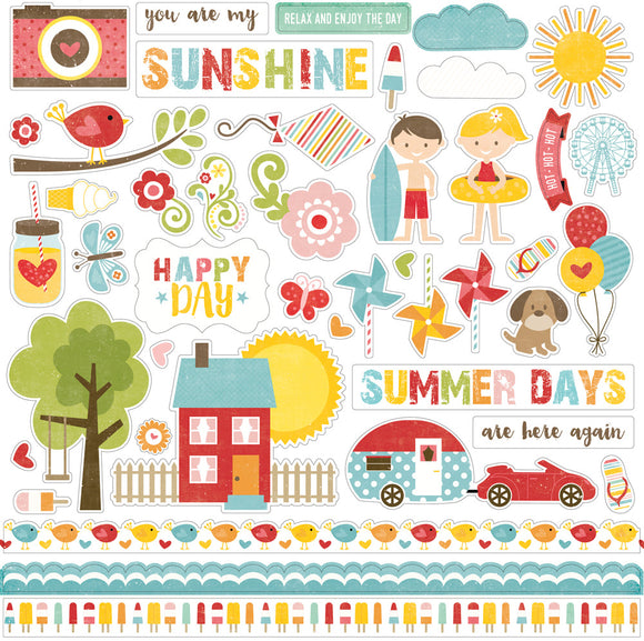 Echo Park 12x12 Cardstock Stickers - Happy Summer - Elements