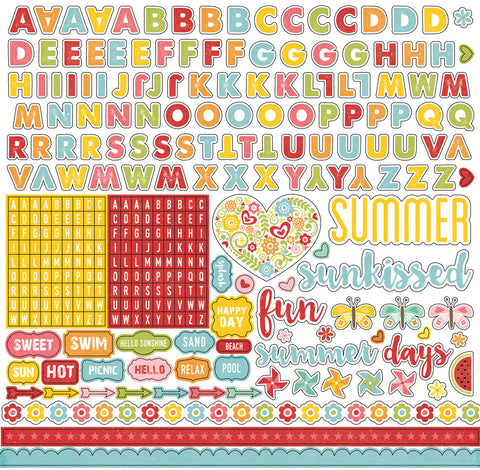 Echo Park 12x12 Cardstock Stickers - Happy Summer - Alpha