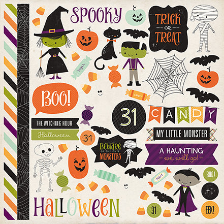 Echo Park 12x12 Cardstock Stickers - Halloween Town - Elements