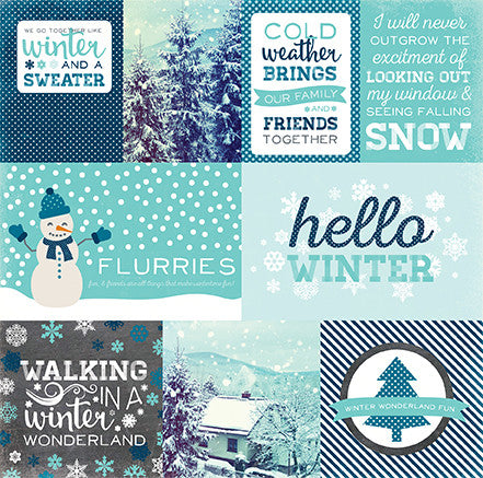 Echo Park Cut-Outs - Hello Winter - Journaling Cards