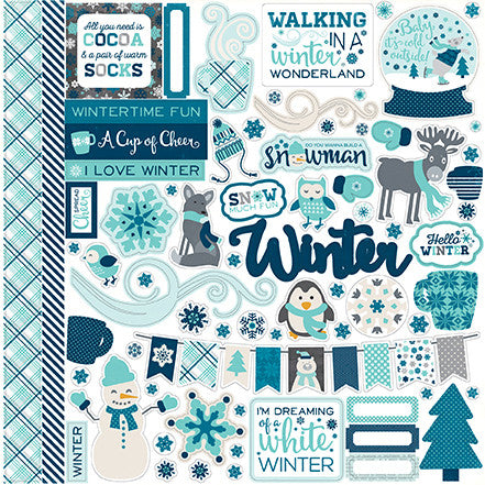 Echo Park 12x12 Cardstock Stickers - Hello Winter - Elements