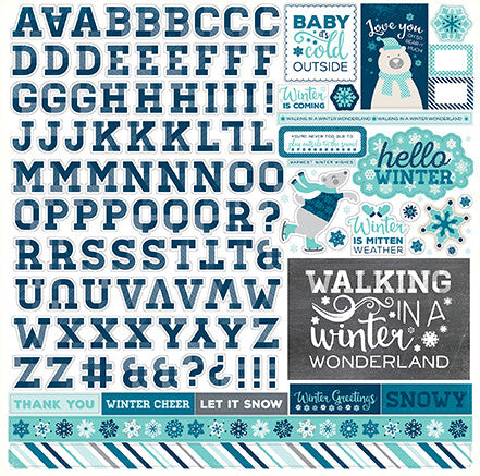 Echo Park 12x12 Cardstock Stickers - Hello Winter - Alpha