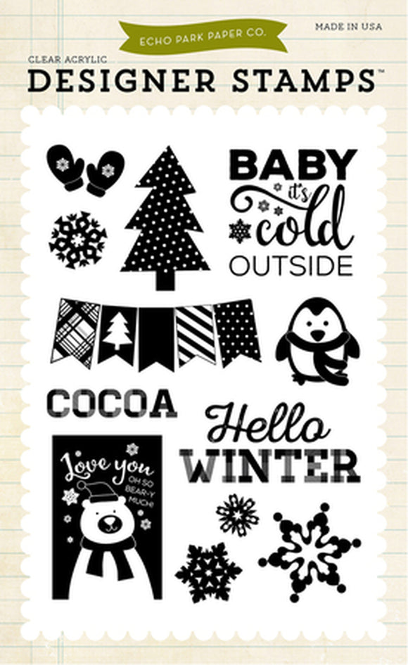 Echo Park Clear Stamp Set - Hello Winter - Snow Cold