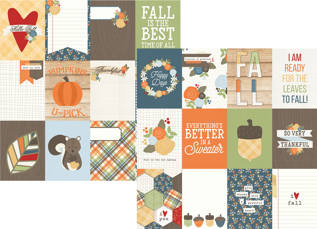 Simple Stories Papers - Hello Fall - 3x4 Journaling Cards - 2 Sheets