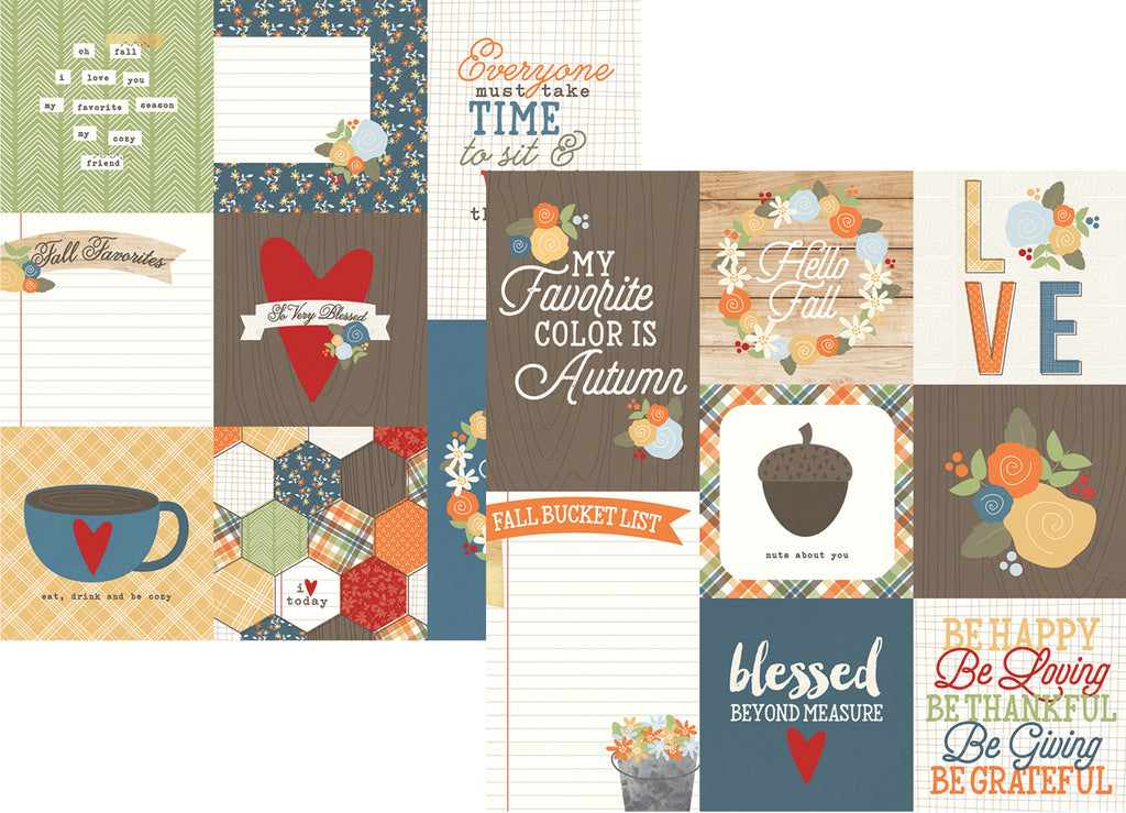 Simple Stories Papers - Hello Fall - 4x4 & 4x6 Vertical Journaling - 2 Sheets
