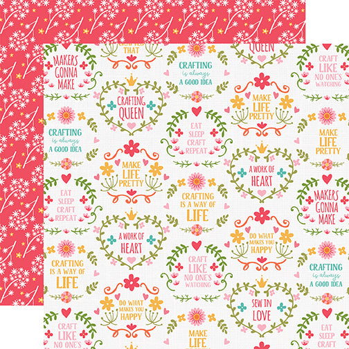 Echo Park Papers - I Heart Crafting - Makers Gonna Make - 2 Sheets