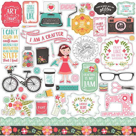 Echo Park 12x12 Cardstock Stickers - I Heart Crafting - Elements