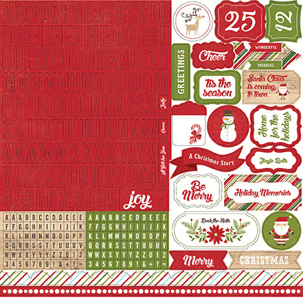 Echo Park 12x12 Cardstock Stickers - I Love Christmas - Alpha