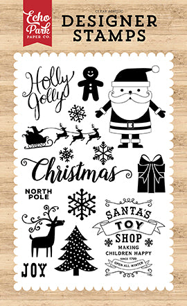 Echo Park Clear Stamp Set - I Love Christmas - Holly Jolly