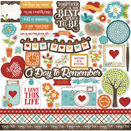 Echo Park 12x12 Cardstock Stickers - I Love Family - Elements