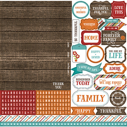 Echo Park 12x12 Cardstock Stickers - I Love Family - Alpha