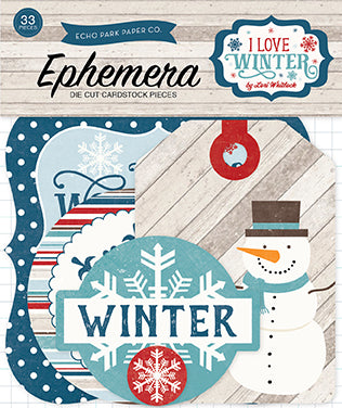 Echo Park Ephemera Die-Cuts - I Love Winter