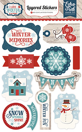 Echo Park Layered Stickers - I Love Winter