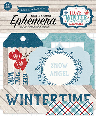 Echo Park Ephemera Die-Cuts - I Love Winter - Tags & Frames