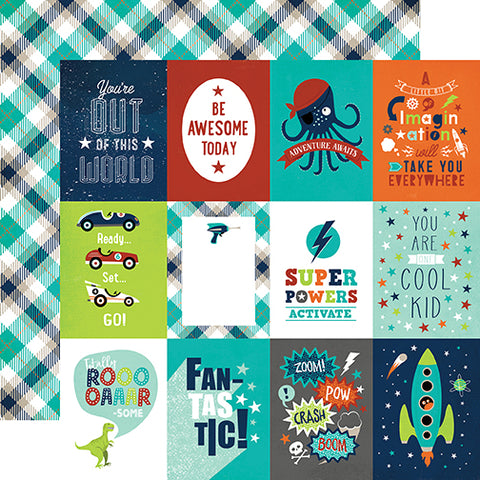Echo Park Cut-Outs - Imagine That - Boy - 3x4 Journaling Cards
