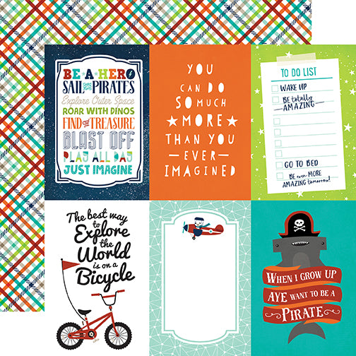 Echo Park Cut-Outs - Imagine That - Boy - 4x6 Journaling Cards