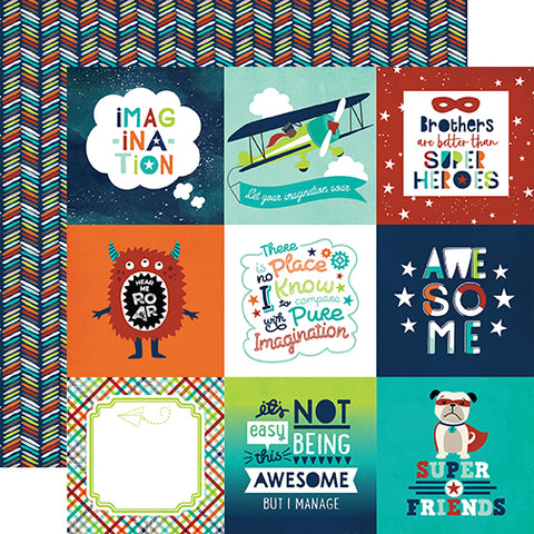 Echo Park Cut-Outs - Imagine That - Boy - 4x4 Journaling Cards