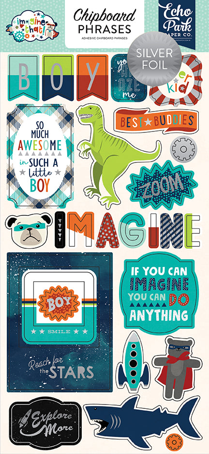 Echo Park Chipboard - Imagine That - Boy - Phrases