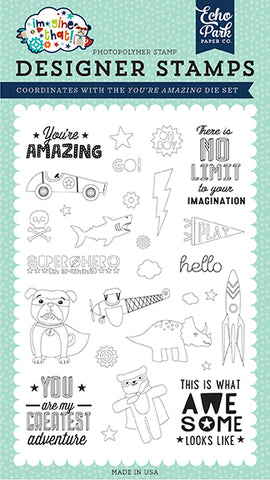 Echo Park Clear Stamp Set - Imagine That - Boy - You're Amazing