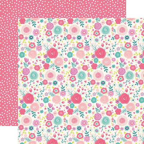 Echo Park Papers - Imagine That - Girl - Fancy Floral - 2 Sheets