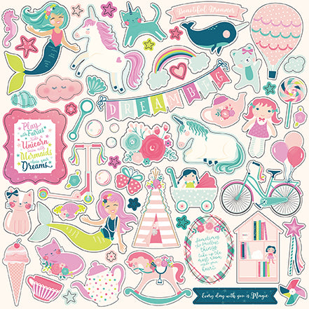 Echo Park 12x12 Cardstock Stickers - Imagine That - Girl - Elements