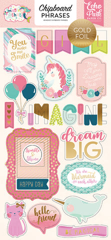 Echo Park Chipboard - Imagine That - Girl - Phrases