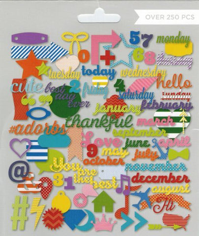 My Mind's Eye Mega Die-Cut Pack - Bright & Primary - 250 Piece Bundle
