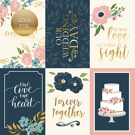 Echo Park Cut-Outs - Just Married - 4x6 Journaling Cards - Foil