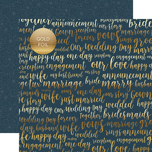 Echo Park Papers - Just Married - Our Love Foil - 2 Sheets