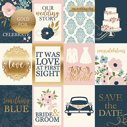 Echo Park Cut-Outs - Just Married - 3x4 Journaling Cards - Foil