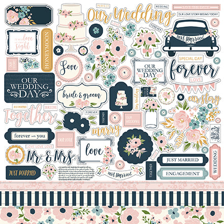 Echo Park 12x12 Cardstock Stickers - Just Married - Elements