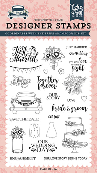 Echo Park Clear Stamp Set - Just Married - Bride & Groom