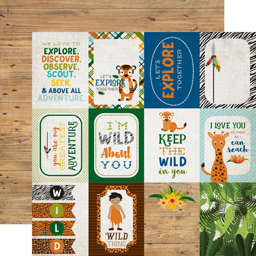 Echo Park Cut-Outs - Jungle Safari - 3x4 Journaling Cards