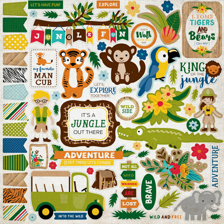 Echo Park 12x12 Cardstock Stickers - Jungle Safari - Elements
