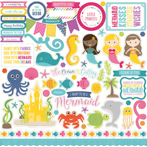 Echo Park 12x12 Cardstock Stickers - Let's Be Mermaids - Elements