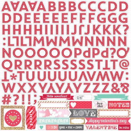 Echo Park 12x12 Cardstock Stickers - Lucky In Love - Alpha