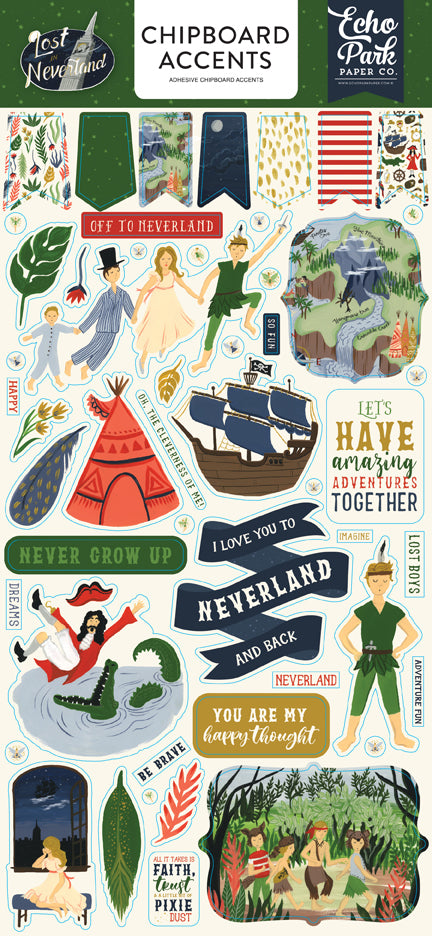 Echo Park Chipboard - Lost In Neverland - Accents
